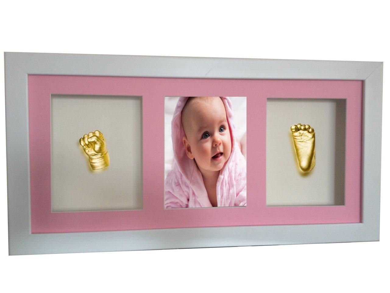 Beyaz Cerceveli Resimli 3 Bolmeli Bebek El Ayak Izi Heykeli Seti