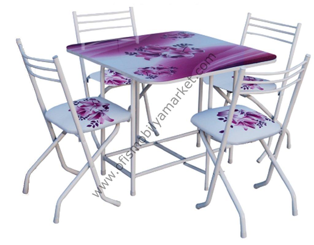 Cam Katlanır Masa Takımı