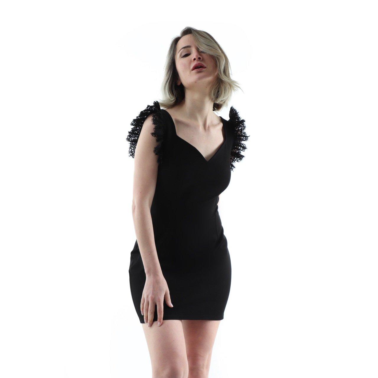 a5a1faf1972a2 Siyah Kalın Askılı Askıları Fırfırlı Kalem Elbise