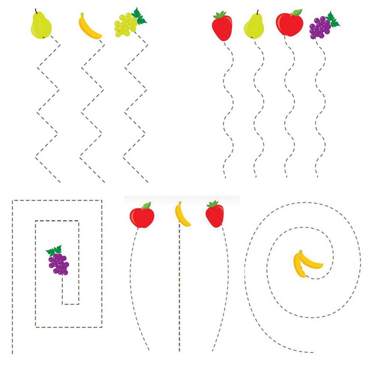 Meyveler Cizgi Calismalari 8 Sayfa A4 Renkli Cikti Makas Calismalari