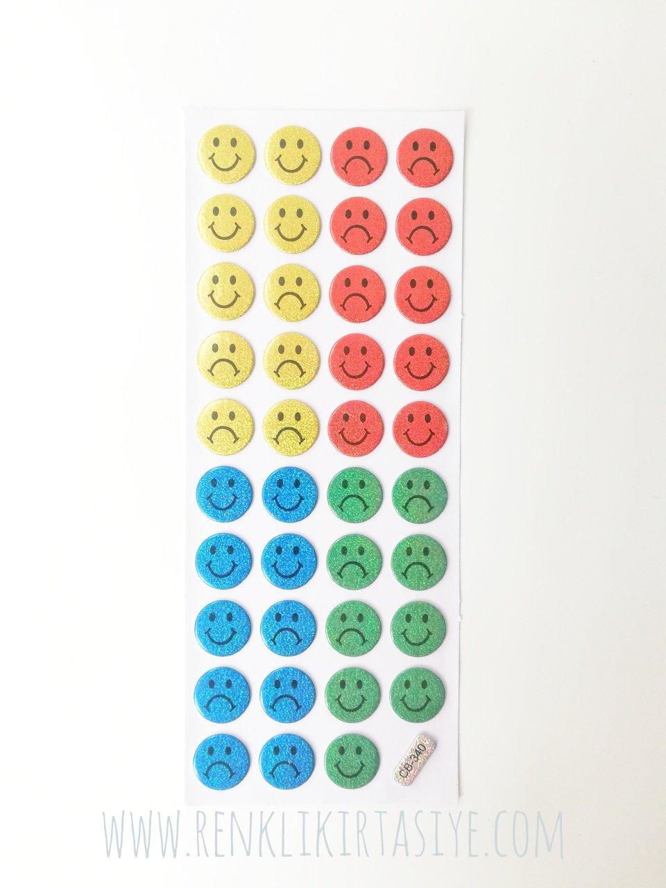 Mutlu Mutsuz Yuz Ifadeleri Renkli Parlak Sticker 39 Adet