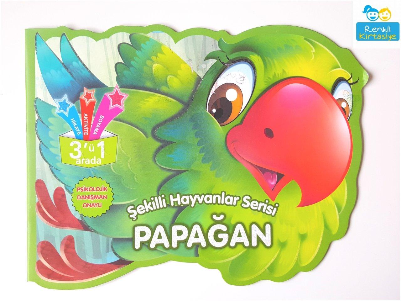 Sekilli Hayvanlar Serisi Papagan 3 U 1 Arada Aktivite Kitabi