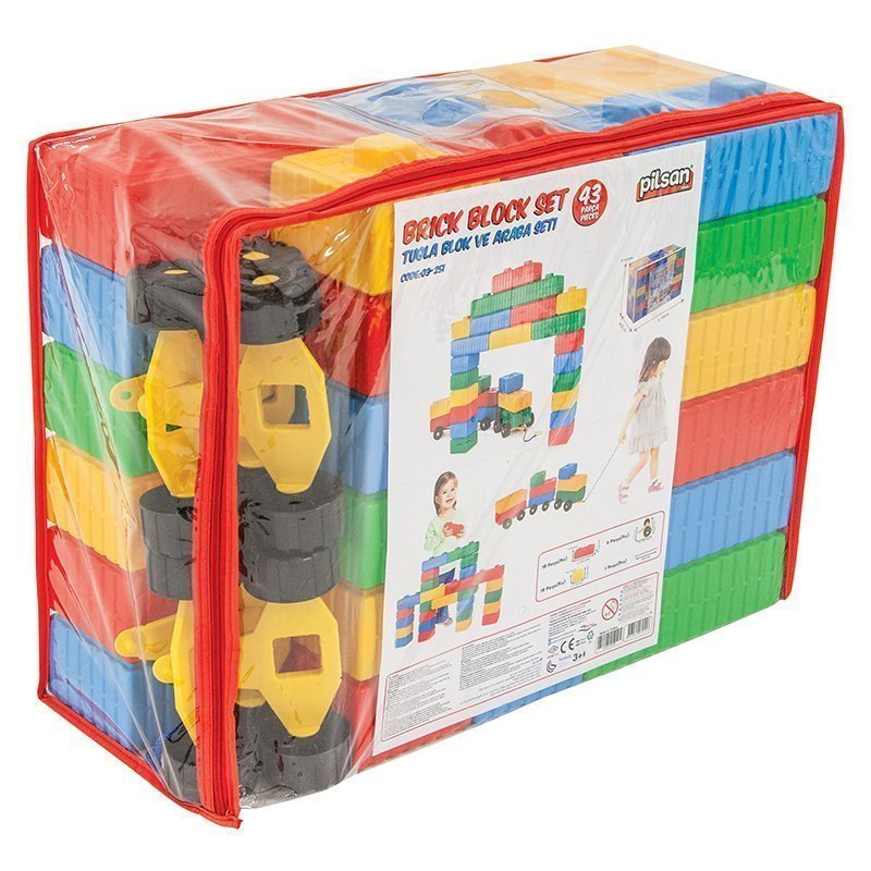 Tuğla Blok Ve Araba Seti (43 Parça)
