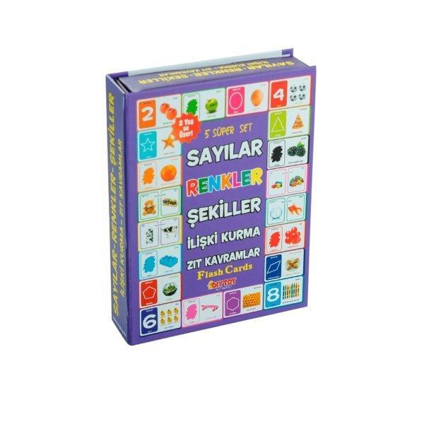 1413 DıyToy, Flash Cards - 5 Süper Set - Sayılar+Renkler+Şekiller+İlişki Kurma+Zıt Kavramlar / +2 ya