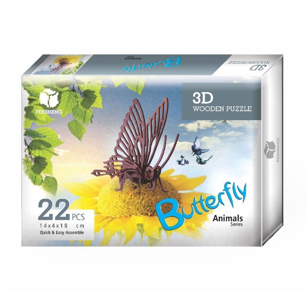2019023 Pershang Kelebek - Butterfly / 22 parça - 3 Boyutlu Ahşap Puzzle