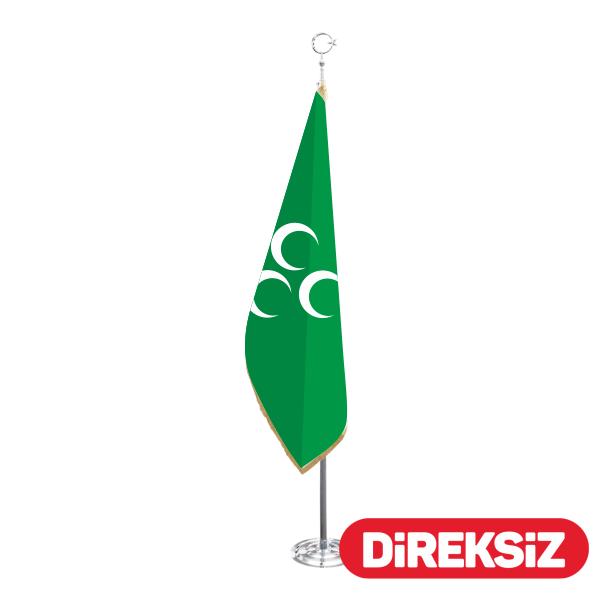 üç Hilal Yeşil Makam Bayrağı Telalı Simli 100x150 Cm ölçüleri Ve