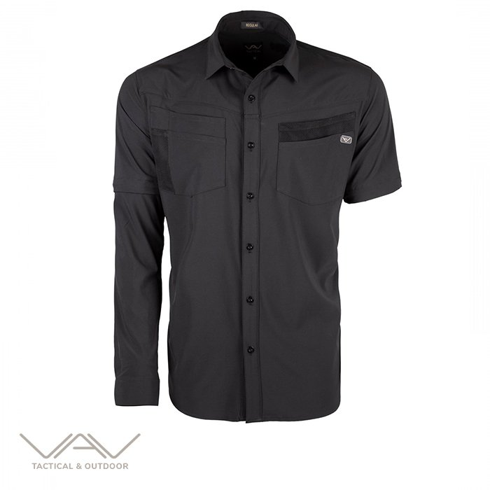 VAV Uzun Kol Gömlek Flextac-01 Siyah XXL