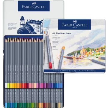 Faber Castell Creative Studio Goldfaber Aquarell Boya Kalemi Metali Kutu 48'li