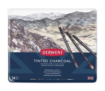 Derwent Tinted Charcoal Renkli Kömür Füzen Seti 24'lü Teneke Kutu