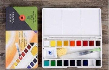 Maries Taş Sulu Boya Seti 18 Renk + Fırça + Sünger Hediyeli
