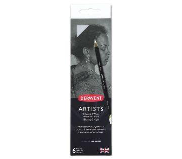 Derwent Artists Pencils Kuruboya Kalemi 6'lı Teneke Kutu (Siyah ve Beyaz Tonları)