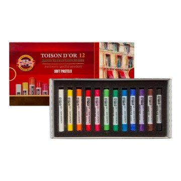 Koh-i Noor Toison D'or Extra Soft Yuvarlak Pastel Boya Kalın 12 Renk