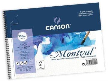 CANSON MONTVAL SPİRALLİ SULUBOYA BLOK 300 GR. A5 13,5*21 CM. 12 SAYFA