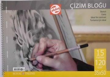 Talens Spiralli Çizim Bloğu Eskiz Çizim Defteri 35x50 cm 120 gr 15 Sayfa