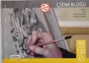Talens Spiralli Çizim Bloğu Eskiz Çizim Defteri A5 120 gr 40 Sayfa