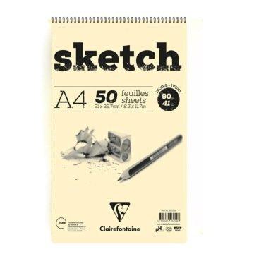 Clairefontaine Ivory Sketch Eskiz Defteri A4 Üstten Spiralli 90 gr. 50 Yaprak