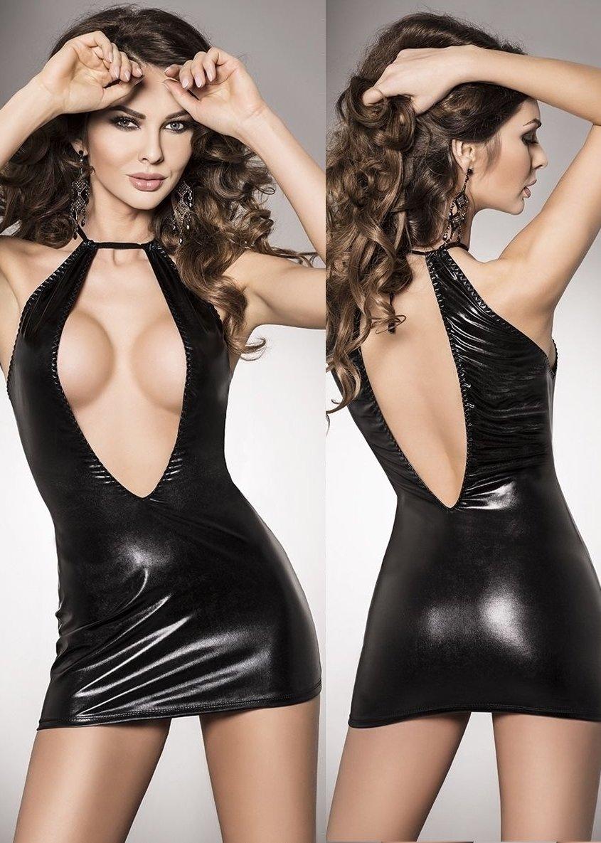 b9fdaaf51cc67 Parlak Dekolteli Seksi Mini Elbise ABM5324, AybestModa