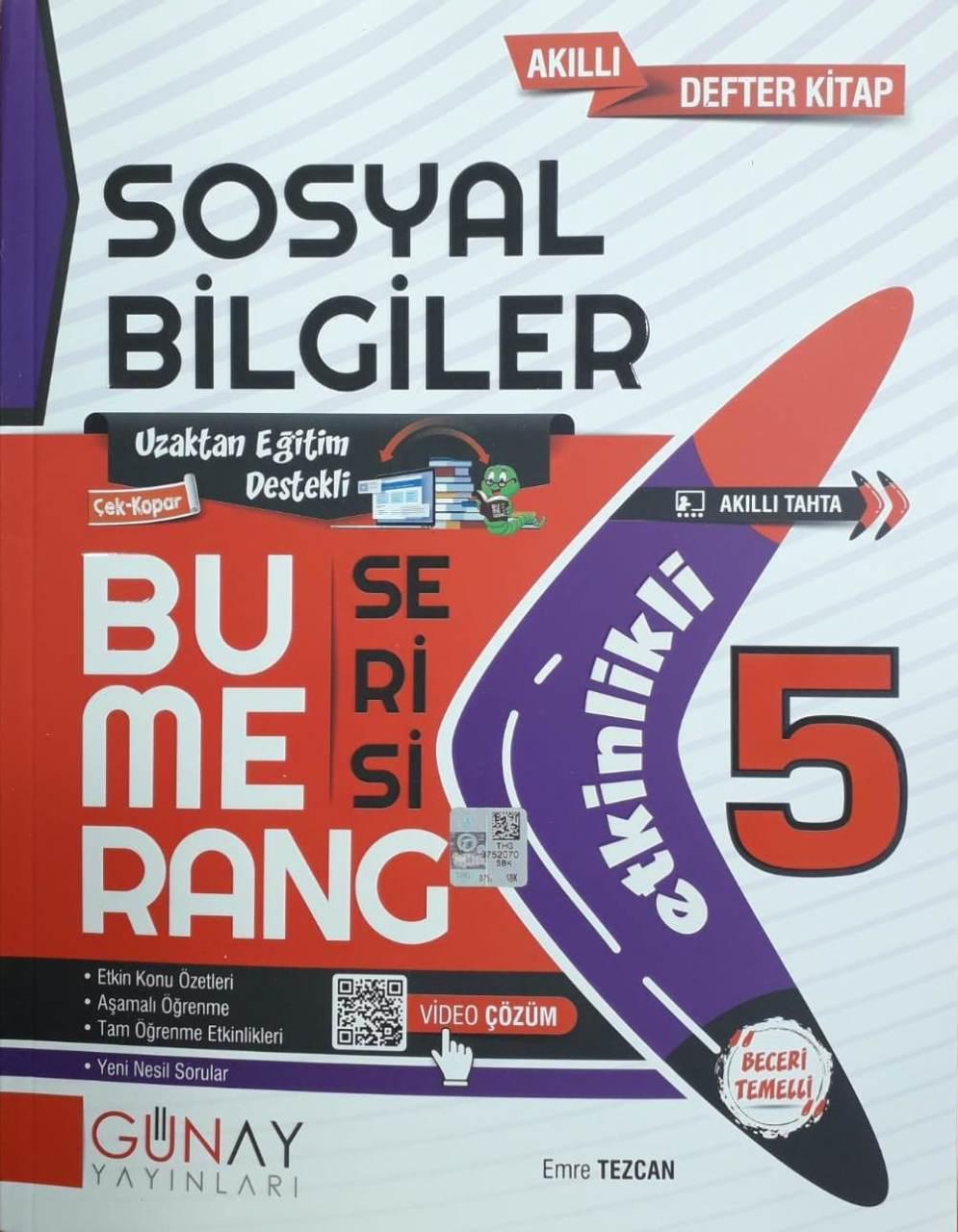 Günay Yayınları 5. Sınıf Sosyal Bilgiler Etkinlikli Bumerang Serisi