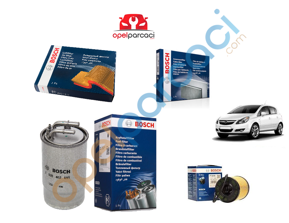 Opel Corsa D 1.3 Euro 4 Dizel Filtre Bakım Seti 2007-2009 BOSCH Tırnaklı Tip