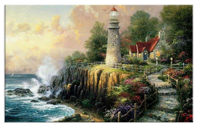 Deniz Feneri Yağlıboya Reproduksiyon Yatay Kanvas Tablo