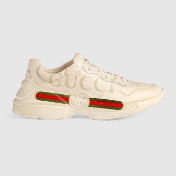7824eb35484fb Rhyton Gucci logo leather sneaker - Ayakkabı, Krem