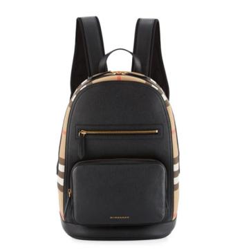 34f664032854e Men's Leather & House Check Backpack - Çanta, Siyah