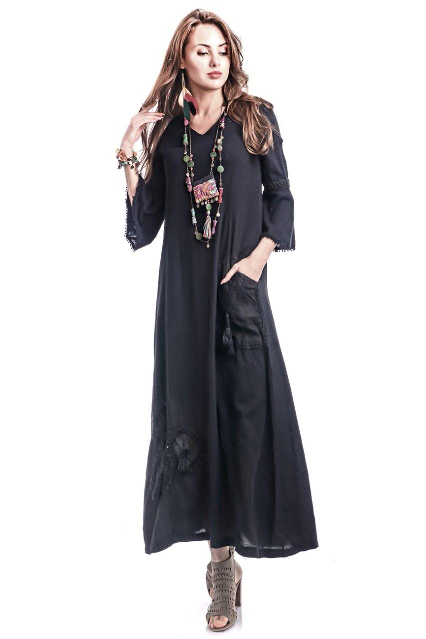 2b68d61131d01 Etnik Cansu Peçli Uzun Elbise - Siyah | Etnik Esintiler