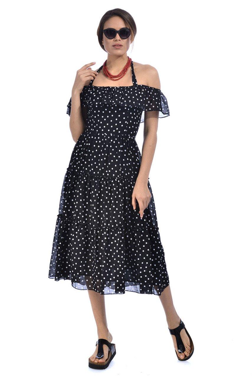 615d18f50684e Etnik Cemre Puantiyeli Elbise - Siyah   Etnik Esintiler