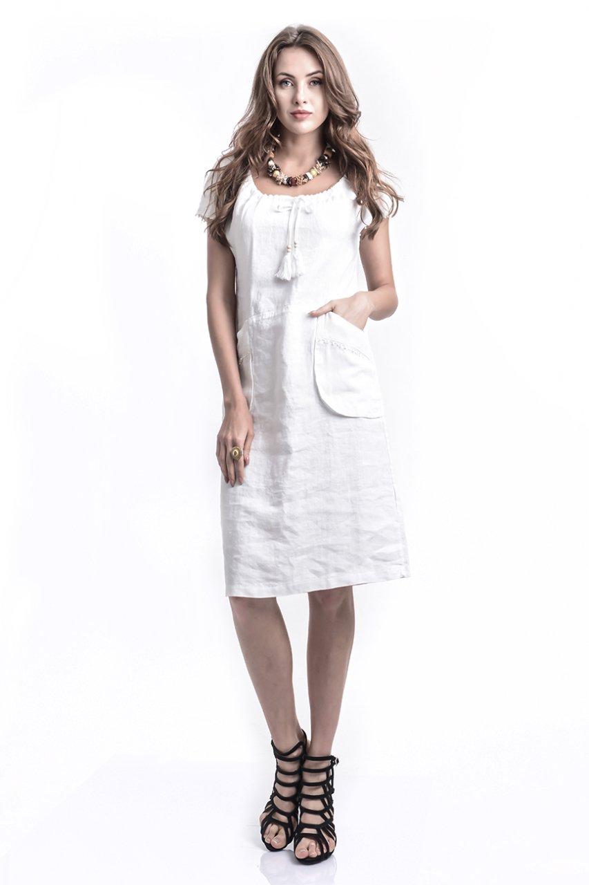 7b0abc2753b18 Otantük Gönül File Cepli Keten Elbise- Beyaz | Etnik Esintiler