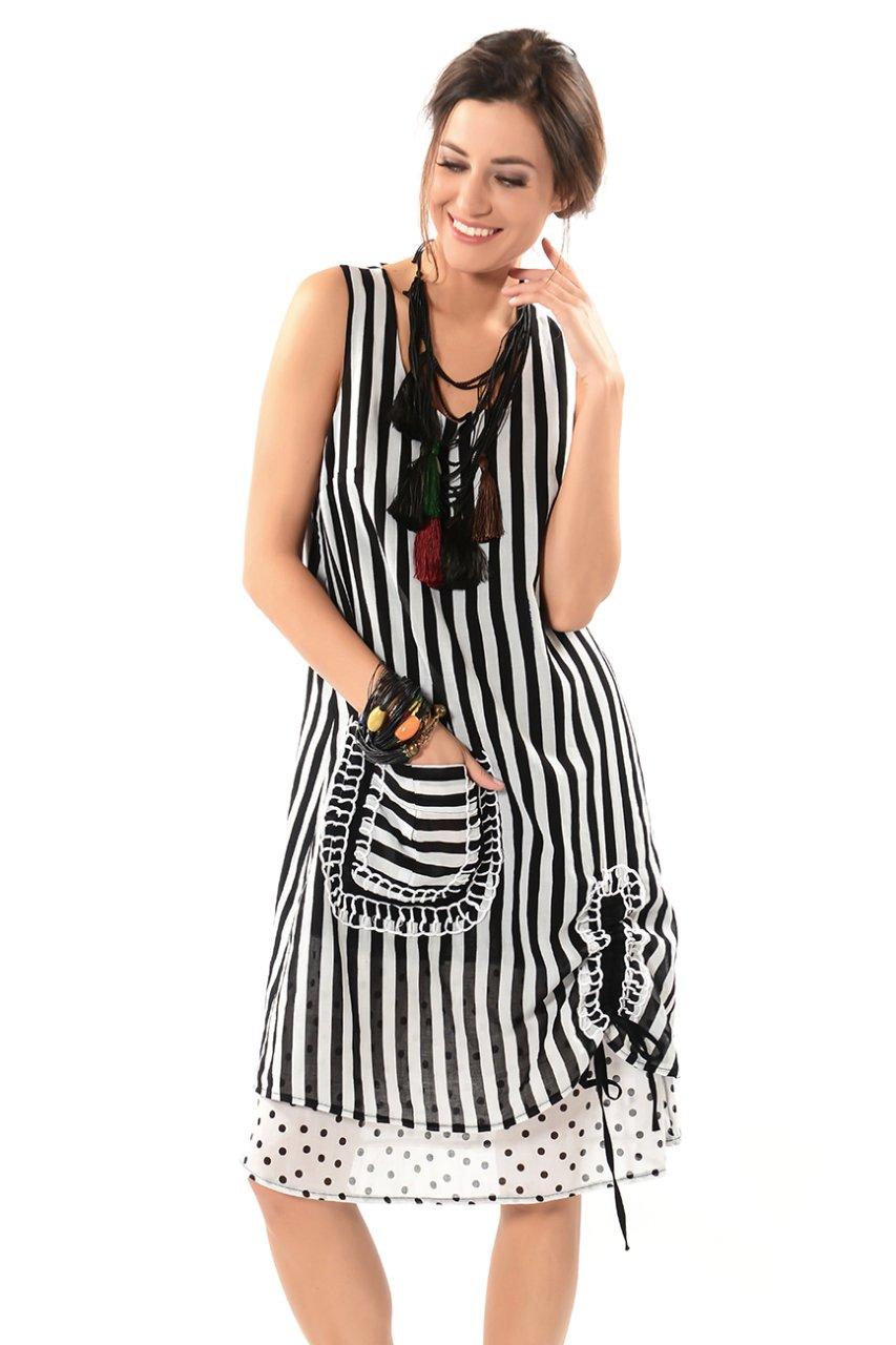 76d9c8654713b Etnik Algın El İşi Kolsuz Elbise- Siyah- Beyaz