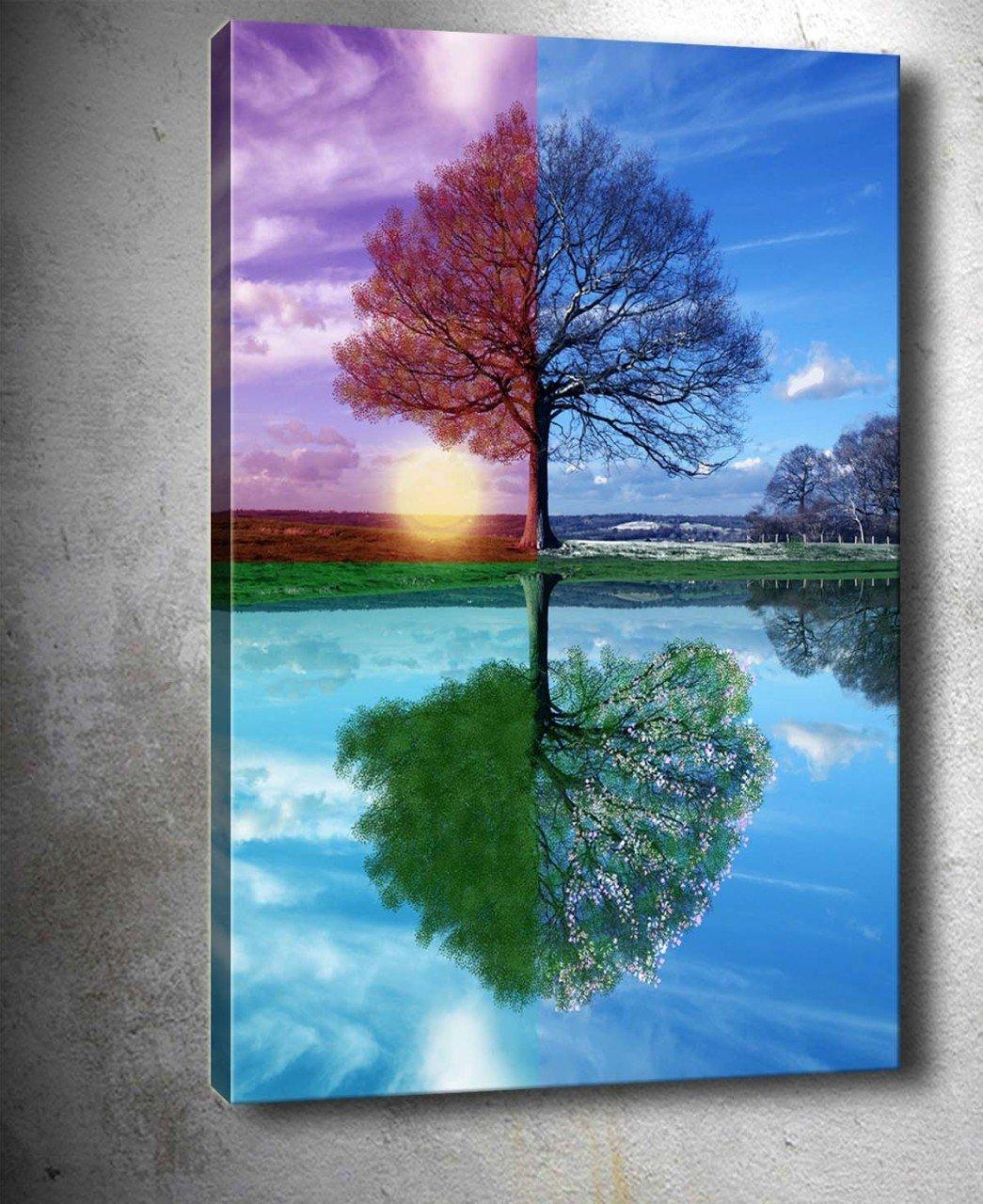 Dört Mevsim Ağaç Kanvas Tablo Dekoratif Kanvas Tablolar