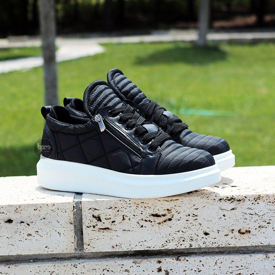 Wagoon Yüksek Taban Yeni Trend Fermuarlı Erkek Ayakkabı Siyah
